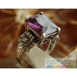 Gina - srebrny pierścionek z ametystem