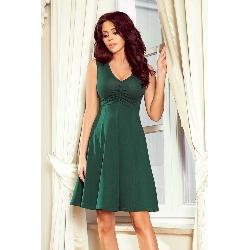 Zielona rozkloszowana sukienka bez rękawów z dekoltem v