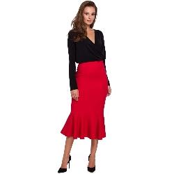 Czerwona ołówkowa midi spódnica z falbanką