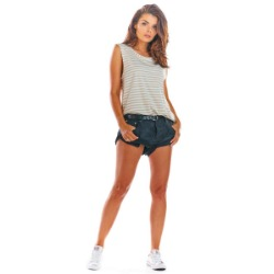 Beżowa oversizowa bluzka -top w paski