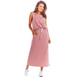 Różowa prosta długa spódnica ołówkowa