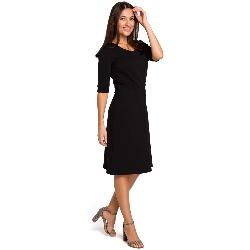 Czarna sukienka midi o kroju litery a z rękawami do łokcia