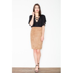 Brązowa ołówkowa midi spódnica z imitacji zamszu