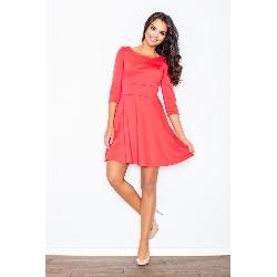 Koralowa elegancka sukienka z rozkloszowanym dołem