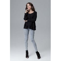 Czarna oversizowa bluzka z falbanką
