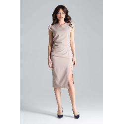 Beżowa dopasowana sukienka midi z falbankami na ramionach