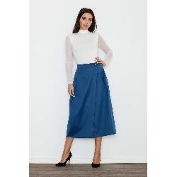 Niebieska spódnica trapezowa midi z kieszeniami