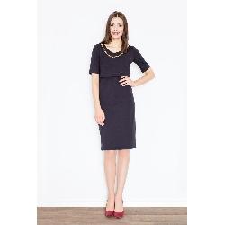 Czarna elegancka midi sukienka z biżuteryjnym łańcuszkiem