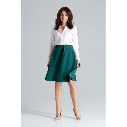 Zielona trapezowa spódnica z klamerką