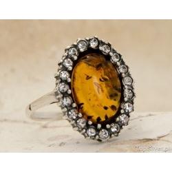 Elani - srebrny pierścionek z bursztynem i kryszta