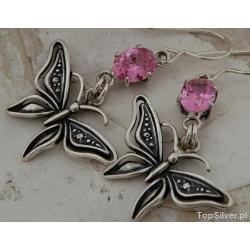 Motyl - srebrne kolczyki z kryształem swarovskiego