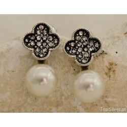 Alicante - srebrne kolczyki perła i kryształy